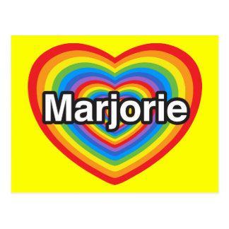 Amo a Marjorie. Te amo Marjorie. Corazón Tarjetas Postales
