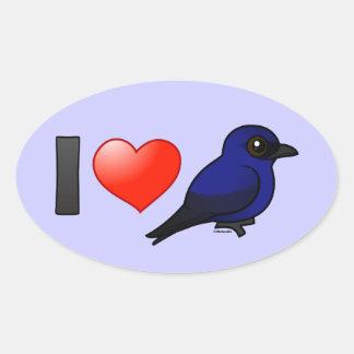 Amo a Martins púrpura Pegatina Ovalada