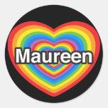 Amo a Maureen. Te amo Maureen. Corazón Etiquetas Redondas