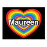 Amo a Maureen. Te amo Maureen. Corazón Tarjeta Postal