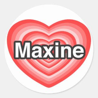 Amo a Maxine. Te amo Maxine. Corazón Pegatinas Redondas