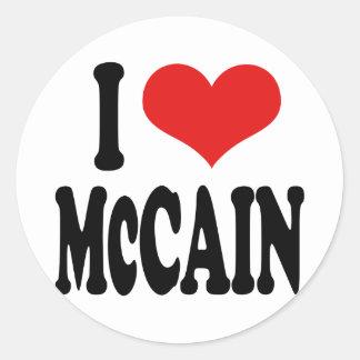 Amo a McCain Pegatina Redonda