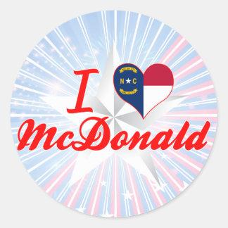 Amo a McDonald, Carolina del Norte Pegatina Redonda