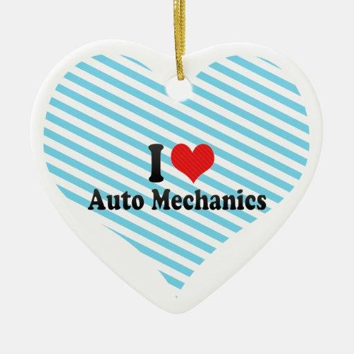 Amo a mecánicos de automóviles adorno de cerámica en forma de corazón