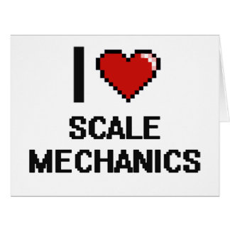 Amo a mecánicos de la escala tarjeta de felicitación grande