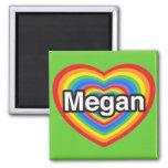 Amo a Megan. Te amo Megan. Corazón Imán Para Frigorífico