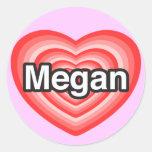 Amo a Megan. Te amo Megan. Corazón Pegatina