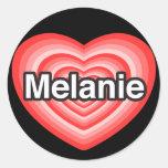Amo a Melanie. Te amo Melanie. Corazón Etiquetas
