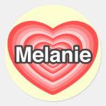 Amo a Melanie. Te amo Melanie. Corazón Etiqueta Redonda