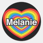 Amo a Melanie. Te amo Melanie. Corazón Pegatina Redonda