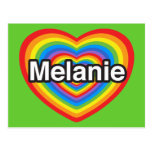 Amo a Melanie. Te amo Melanie. Corazón Postales
