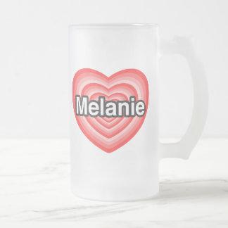 Amo a Melanie. Te amo Melanie. Corazón Taza De Cristal