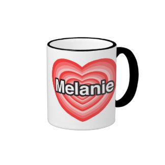 Amo a Melanie. Te amo Melanie. Corazón Taza De Dos Colores