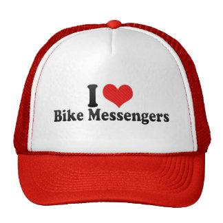 Amo a mensajeros de la bici gorros