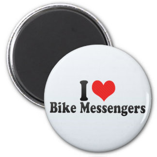Amo a mensajeros de la bici imanes de nevera