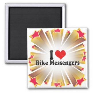 Amo a mensajeros de la bici imanes