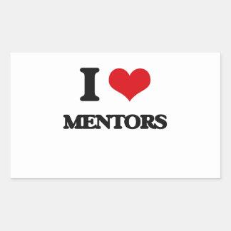 Amo a mentores rectangular pegatinas