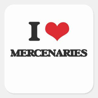 Amo a mercenarios pegatina cuadradas personalizada