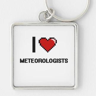 Amo a meteorólogos llavero cuadrado plateado
