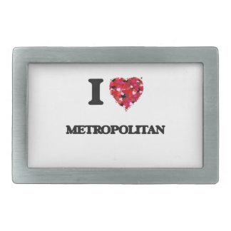 Amo a metropolitano hebilla cinturon rectangular