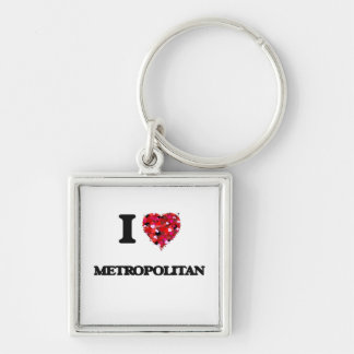 Amo a metropolitano llavero cuadrado plateado