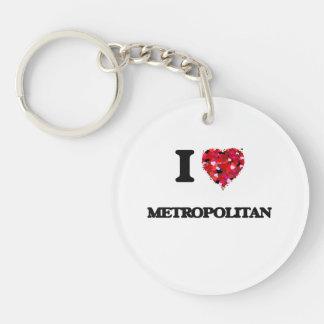 Amo a metropolitano llavero redondo acrílico a una cara
