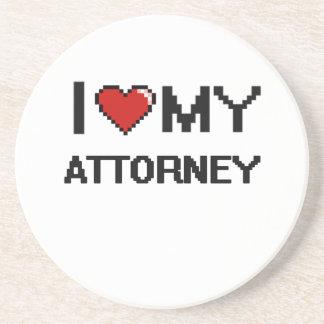 Amo a mi abogado posavasos de arenisca