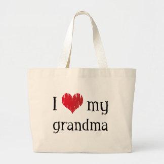 Amo a mi abuela bolsa de tela grande