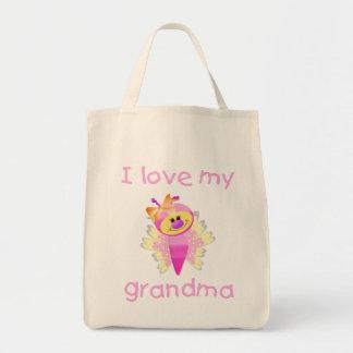 Amo a mi abuela (el chica flutterby) bolsa tela para la compra