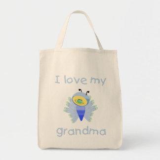 Amo a mi abuela (el muchacho flutterby) bolsa tela para la compra