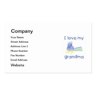 Amo a mi abuela (el oso azul con la estrella) tarjetas de visita