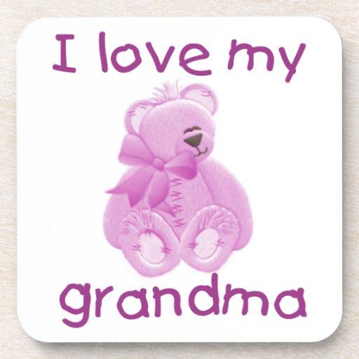 Amo a mi abuela (el oso rosado) posavasos de bebida