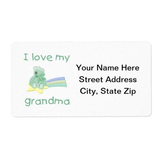 Amo a mi abuela (el oso verde con la estrella) etiqueta de envío