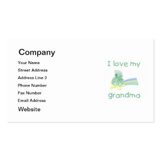 Amo a mi abuela (el oso verde con la estrella) tarjetas de visita