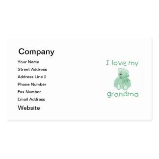 Amo a mi abuela (el oso verde) tarjetas de visita