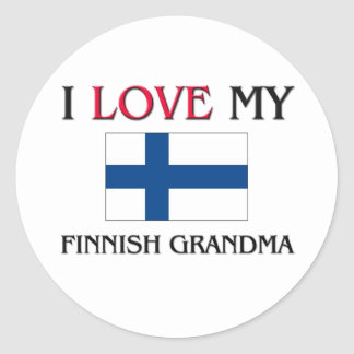 Amo a mi abuela finlandesa pegatina redonda