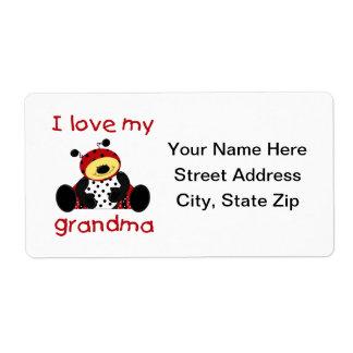 Amo a mi abuela (la mariquita del muchacho) etiqueta de envío
