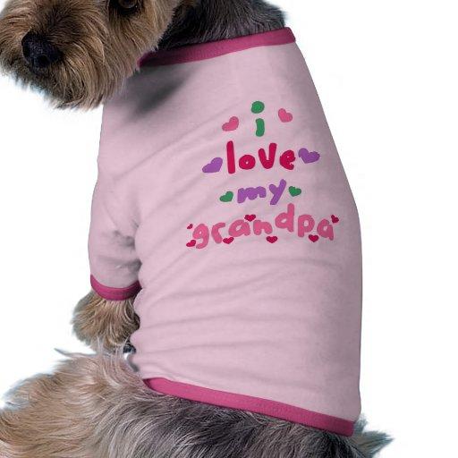 amo a mi abuelo camiseta con mangas para perro