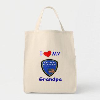 Amo a mi abuelo de la policía bolsa tela para la compra
