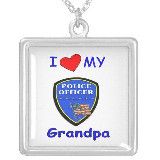 Amo a mi abuelo de la policía colgante cuadrado