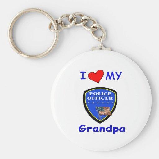 Amo a mi abuelo de la policía llavero