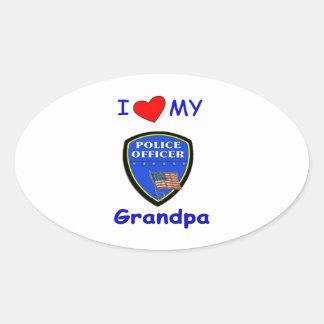 Amo a mi abuelo de la policía pegatina ovalada