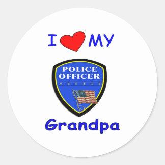 Amo a mi abuelo de la policía pegatina redonda