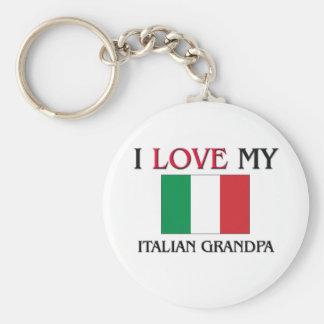 Amo a mi abuelo italiano llavero redondo tipo pin