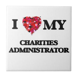Amo a mi administrador de las caridades azulejo cuadrado pequeño