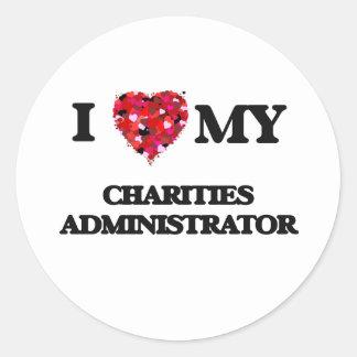 Amo a mi administrador de las caridades pegatina redonda