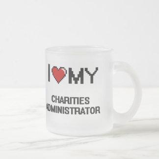 Amo a mi administrador de las caridades taza cristal mate