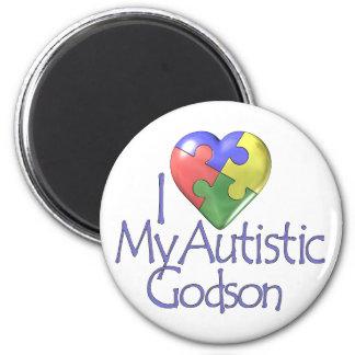 Amo a mi ahijado autístico imán redondo 5 cm