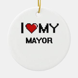 Amo a mi alcalde adorno navideño redondo de cerámica