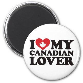 Amo a mi amante canadiense imán redondo 5 cm